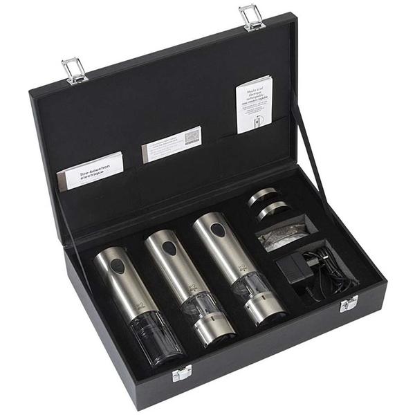 Peugeot ELIS - Набор 7 предметов 2 электрические мельницы + штопор + зарядка + 2 пакета соль и перец (set 7 pcs) картон