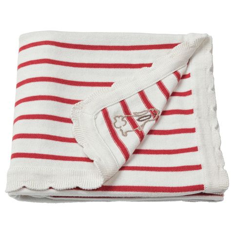 РЁДХАКЕ Одеяло детское, в полоску, белый/красный, 80x100 см