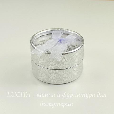 Подарочная коробочка круглая с бантиком (цвет - серебряный), 55х35 мм