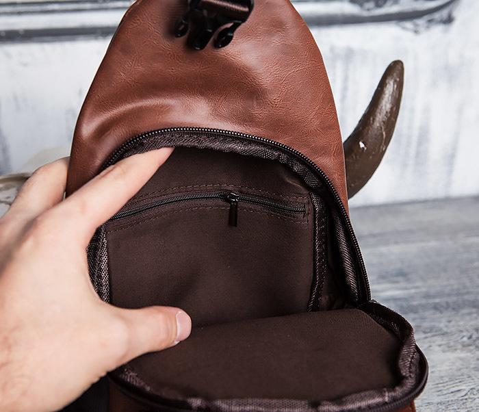 BAG423-2 Коричневая мужская сумка рюкзак с одной лямкой фото 10