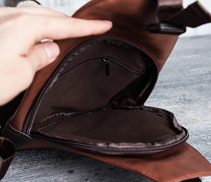 BAG423-2 Коричневая мужская сумка рюкзак с одной лямкой фото 11