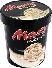 """Мороженое """"Mars"""" сливочное с карамелью и прослойкой из шоколадной глазури  500мл ведерко"""