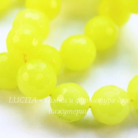 Бусина Жадеит (тониров), шарик с огранкой, цвет - кислотный желтый, 10 мм, нить (желтее)
