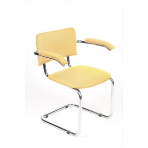 Кресло ZP_UP_Silwia Arm каркас хром, к/з бежевый Z04 (песочный)