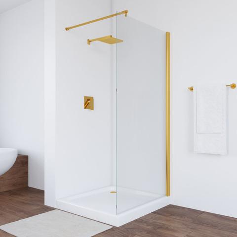 Неподвижная перегородка Vegas Glass EAF профиль золото, стекло прозрачное