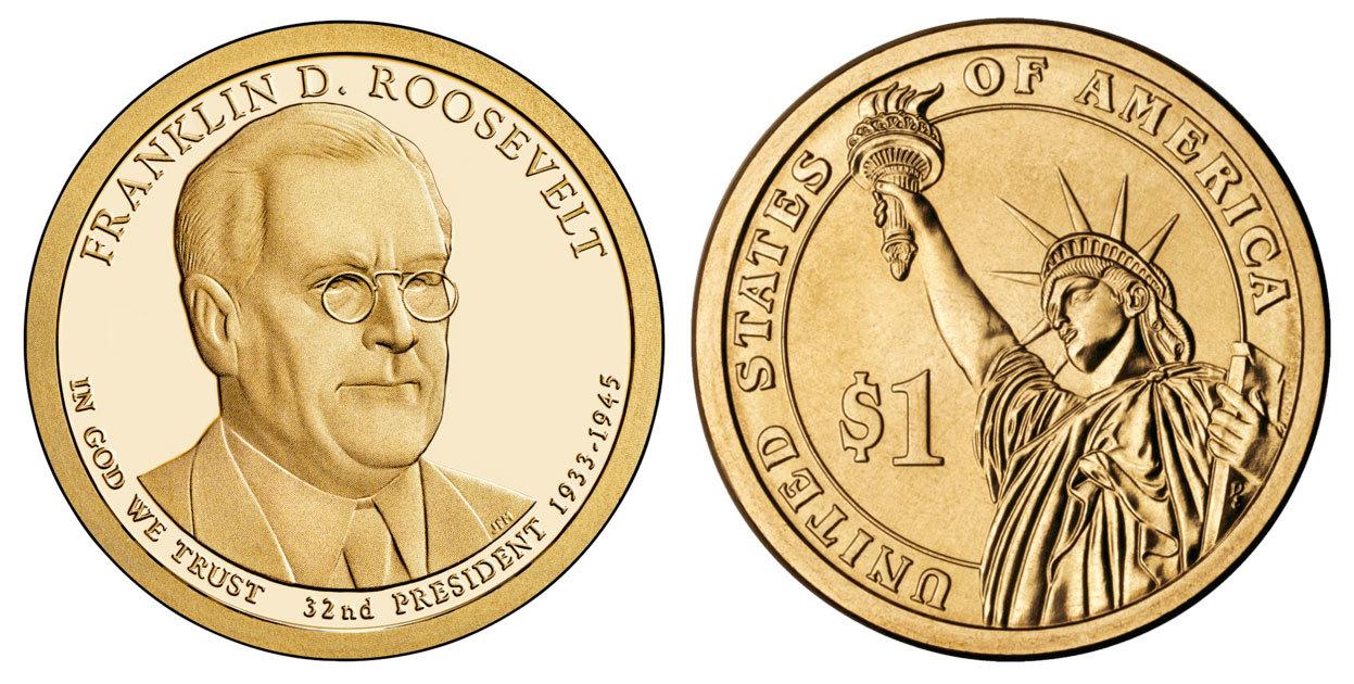 1 доллар 32-й Президент США Ф.Д. Рузвельт 2014 год