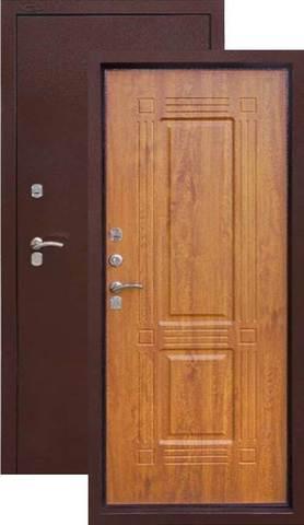 Термодверь входная Аргус  Тепло 1, 2 замка, 2 мм  металл, (молоток коричневый+дуб янтарный)