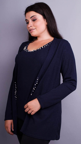 Дона. Жакет+блуза для женщин больших размеров. Синий.