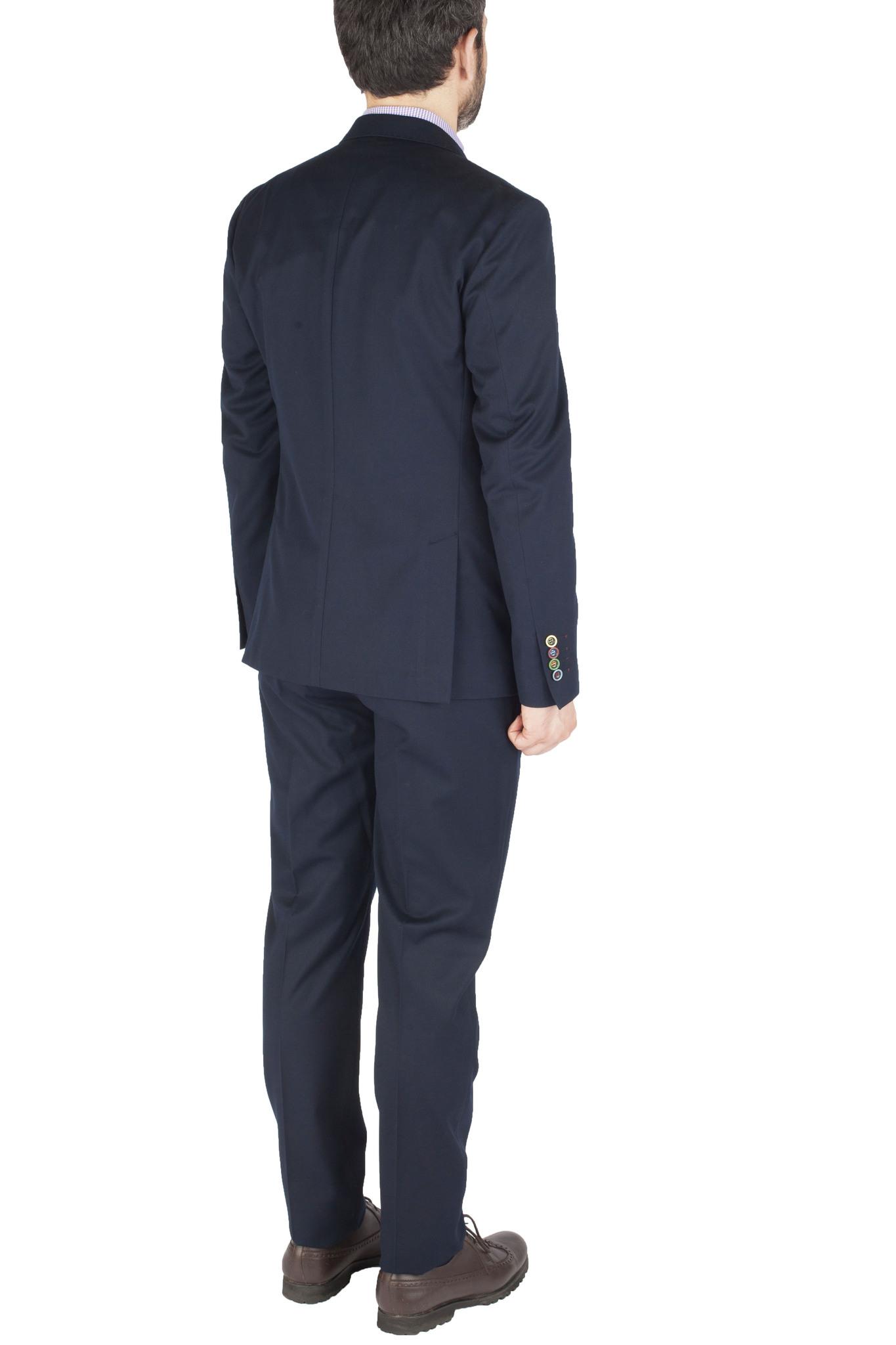 Тёмно-синий шерстяной костюм с весёлыми пуговицами