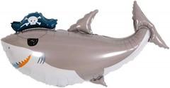 Шар (36''/91 см) Фигура, Акула Пират (повязка флибустьера), 1 шт.