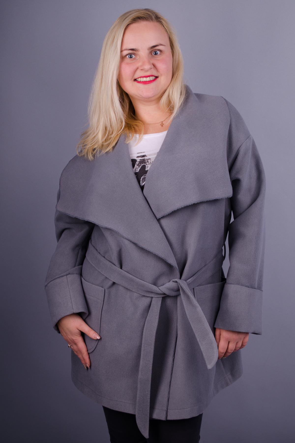 Софі. Красиве пальто великих розмірів. Сірий. - купить по выгодной ... 7ae9db0e6234f