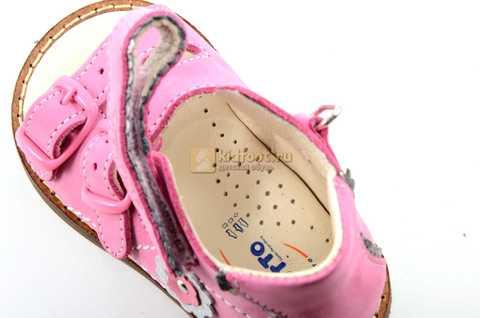 Босоножки Тотто на первый шаг из натуральной кожи открытые для девочек, цвет розовый. Изображение 10 из 10.