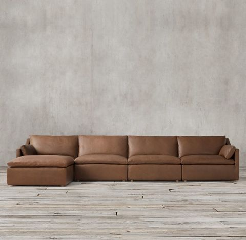 Cloud Slope Arm Modular Leather Sofa Chaise Sectional