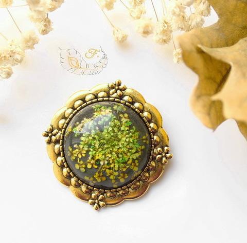 """Основа для броши с сеттингом для кабошона 25 мм """"Цветочки"""", 38 мм (цвет - античное золото) (Брошь с сухоцветом. Пример)"""