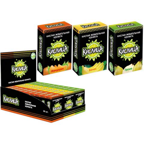 Кислица Мини, кислая жевательная конфета (ассорти вкусов) 10г. 1х36х30