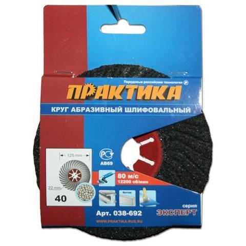 Круг абразивный торцевой ПРАКТИКА 125 х 22 мм Р 40 (1 шт)  картонный подвес