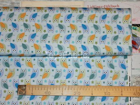 Хлопок Оксфорд 34036 Синие совы на голубом