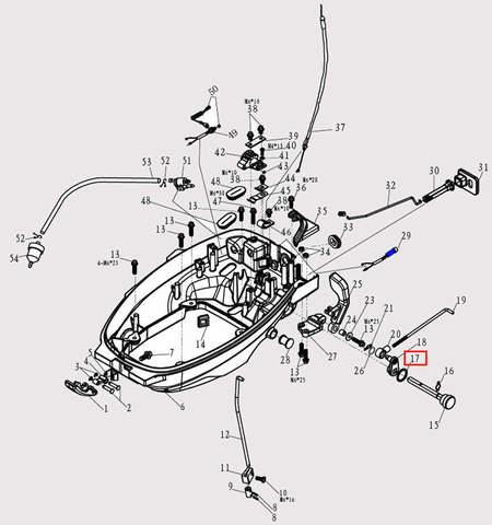 Кольцо уплотнительное для лодочного мотора F9.8 Sea-PRO (2-17)