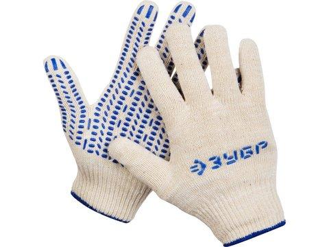 ЗУБР ТОЧКА, размер L-XL, перчатки трикотажные тонкие, с ПВХ покрытием (точка), 11451-XL