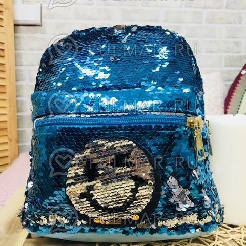 Рюкзак с пайетками с двусторонними пайетками нашивкой Смайлик меняет цвет Голубой-Серебристый