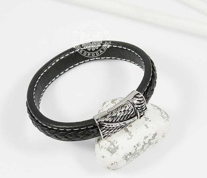 Стильный мужской браслет из кожи черного цвета и стали (21,5 см) двойной мужской браслет из кожи черного цвета