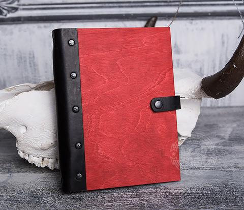 BC126-4 Яркий блокнот с деревянной обложкой красного цвета, ручная работа