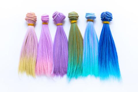 Волосся для ляльки, треси 15 см. Кольорові з омбре.