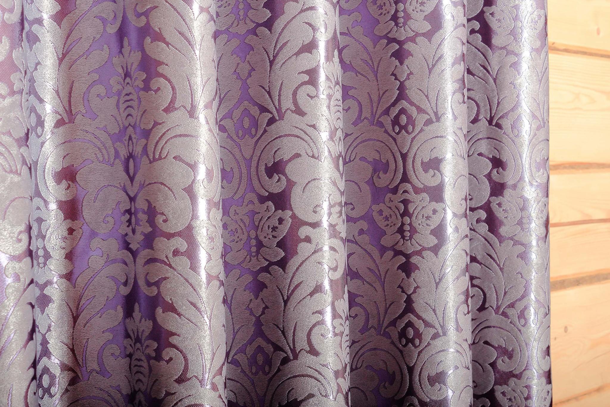 Венеция (фиолетовый) .Готовая штора блэкаут жаккард с шинилом в стиле дамаск.
