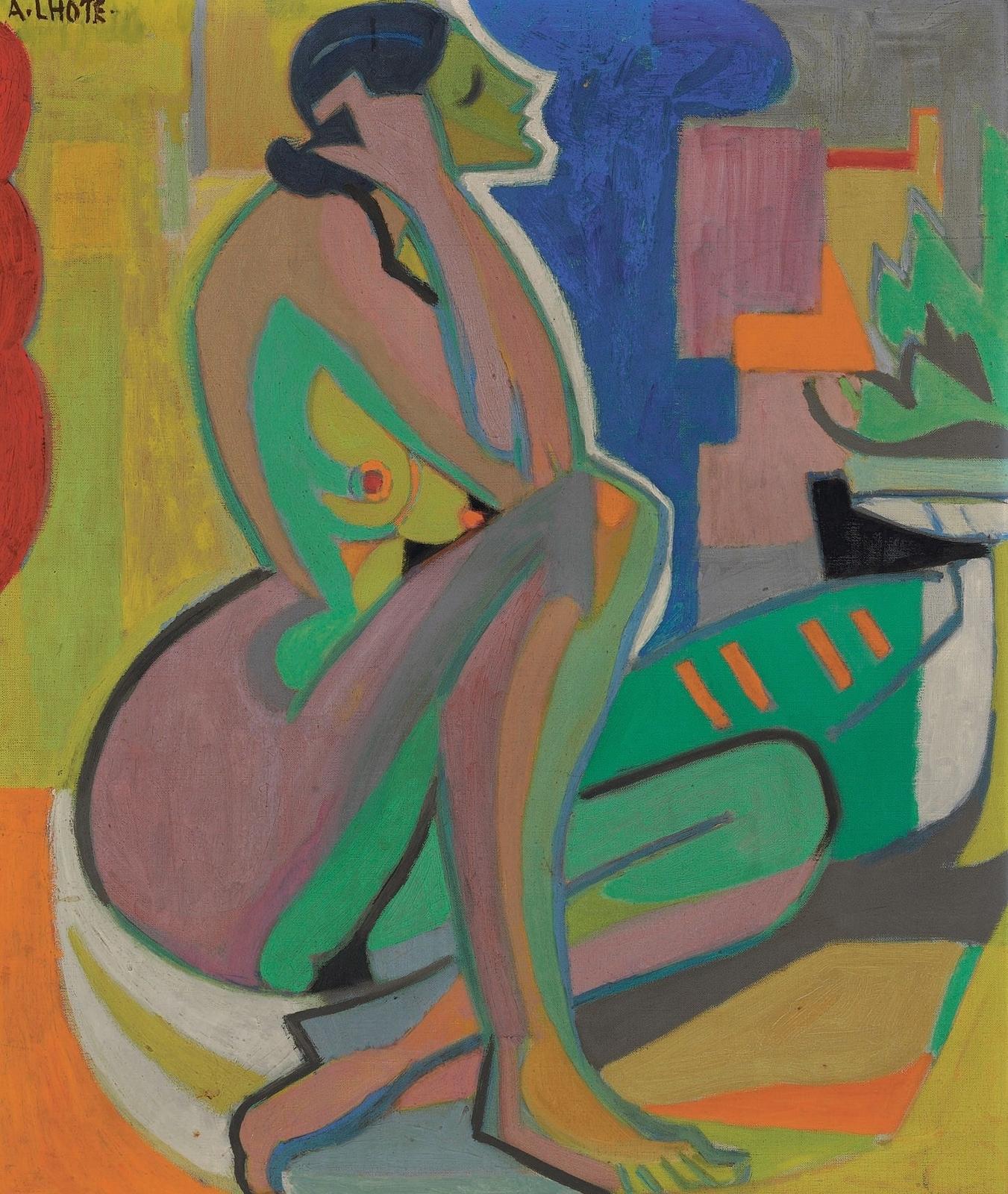 Андре Лот. Сидящая женщина (Femme assise). 54.6 x 45.7. Холст, масло. Частное собрание.
