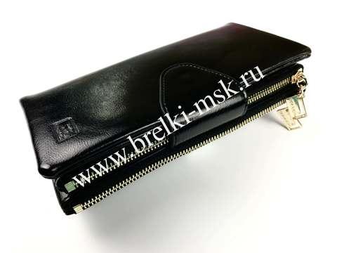 Женский кошелек из натуральной кожи. Цвет Черный