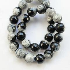 Бусина Агат (тониров) шарик с огранкой цвет - черный с белым, 10 мм, нить