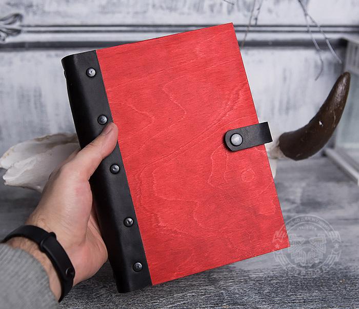 BC126-4 Яркий деревянный блокнот красного цвета, ручная работа фото 03