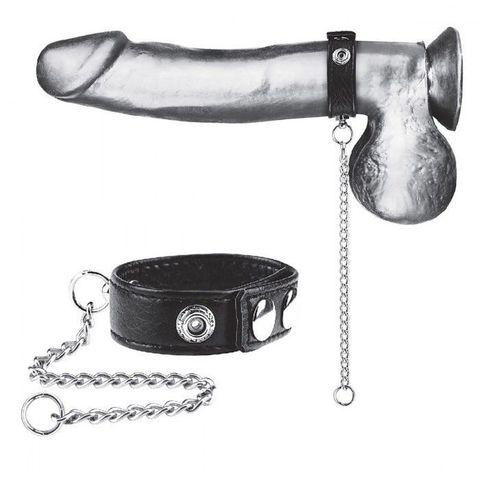 Утяжка на пенис с поводком Snap Cock Ring With 12  Leash