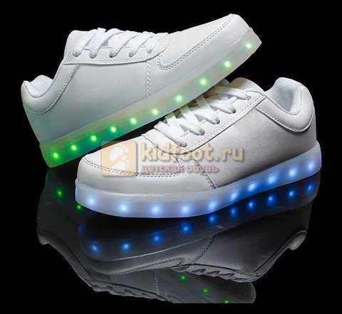 Светящиеся кроссовки с USB зарядкой Fashion (Фэшн) на шнурках, цвет белый, светится вся подошва. Изображение 24 из 29.
