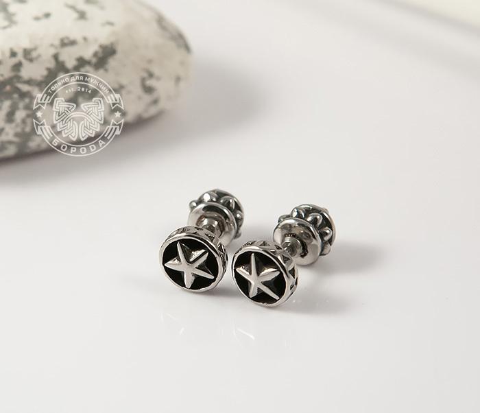 ER452 Мужские серьги «Звезда» со искусственным камнем фото 03