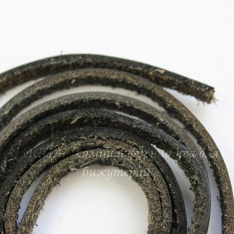 Шнур кожаный, 5х2 мм, цвет - черный, примерно 1 м (темные)