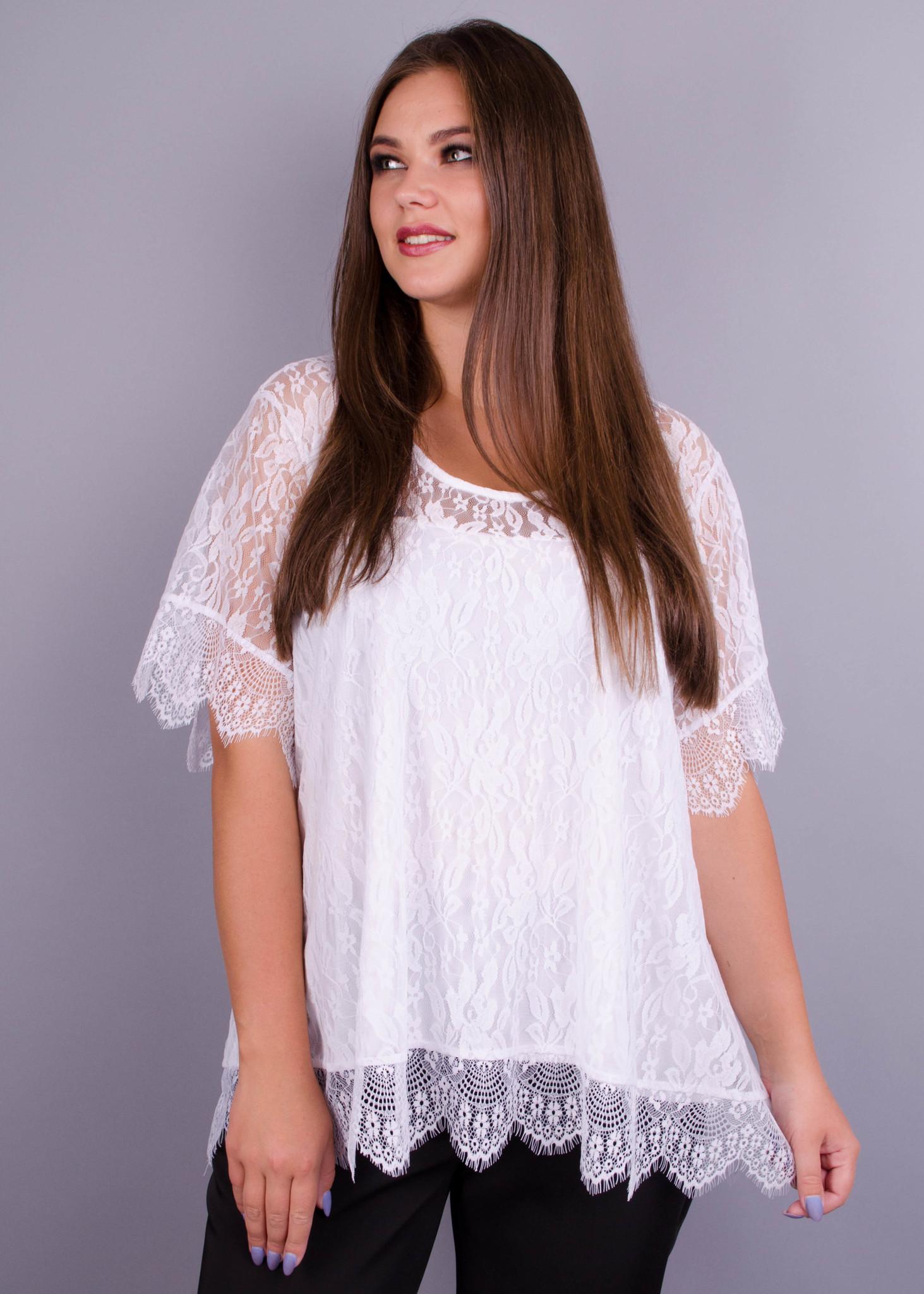 Квітка. Гіпюрова блуза великих розмірів. Білий. - купить по выгодной ... fd7c5eba3263c