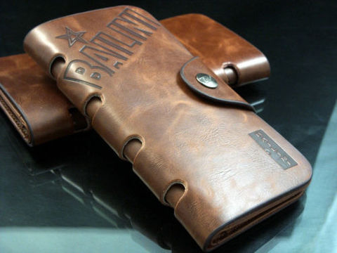 Mens Brown Leather Long Wallet №1
