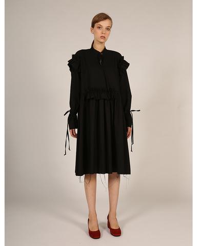 Платье с оборками чёрное