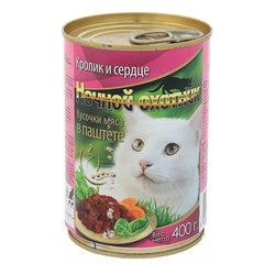 Ночной охотник консервы для кошек Кролик и сердце нежный паштет 400 гр