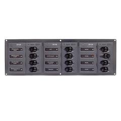 Панель переключателей (12 шт) горизонтальная, с предохранителями постоянного тока