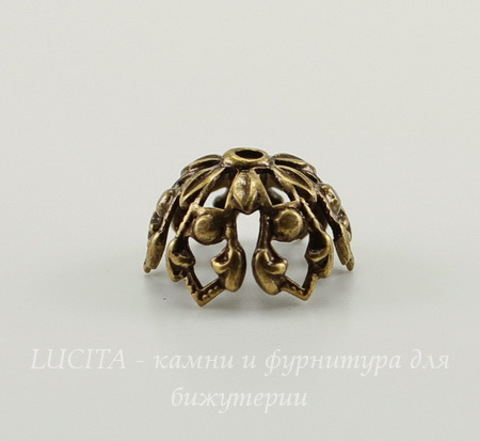 Винтажный декоративный элемент - шапочка 12х7 мм (оксид латуни)
