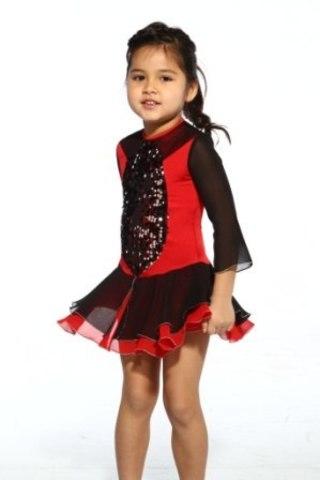 Платье для выступлений, рост 122 см (черный+красный)