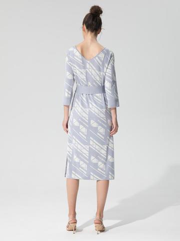 Женское платье светло-серого цвета из шелка и вискозы - фото 4