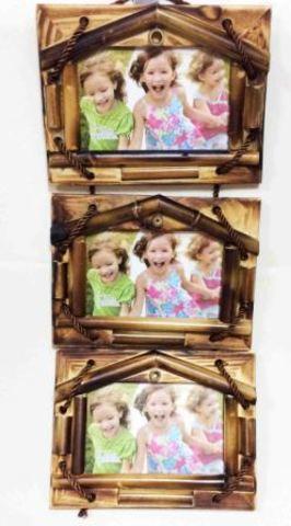 Фоторамка из бамбука 151 10х15 тройная вертикальная