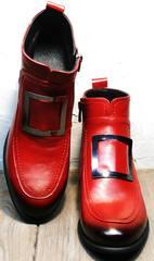 Осенние ботинки с пряжками женские Evromoda 1481547 S.A.-Red