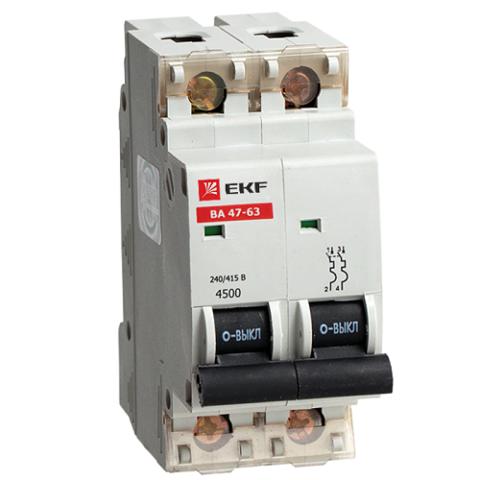 Автоматический выключатель (автомат) 2Р 6А ВА 47-63 EKF