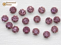Камни круглые в цапах 8 мм розовые
