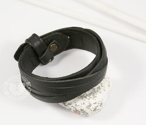 BL434-1 Мужской браслет из натуральной кожи черного цвета