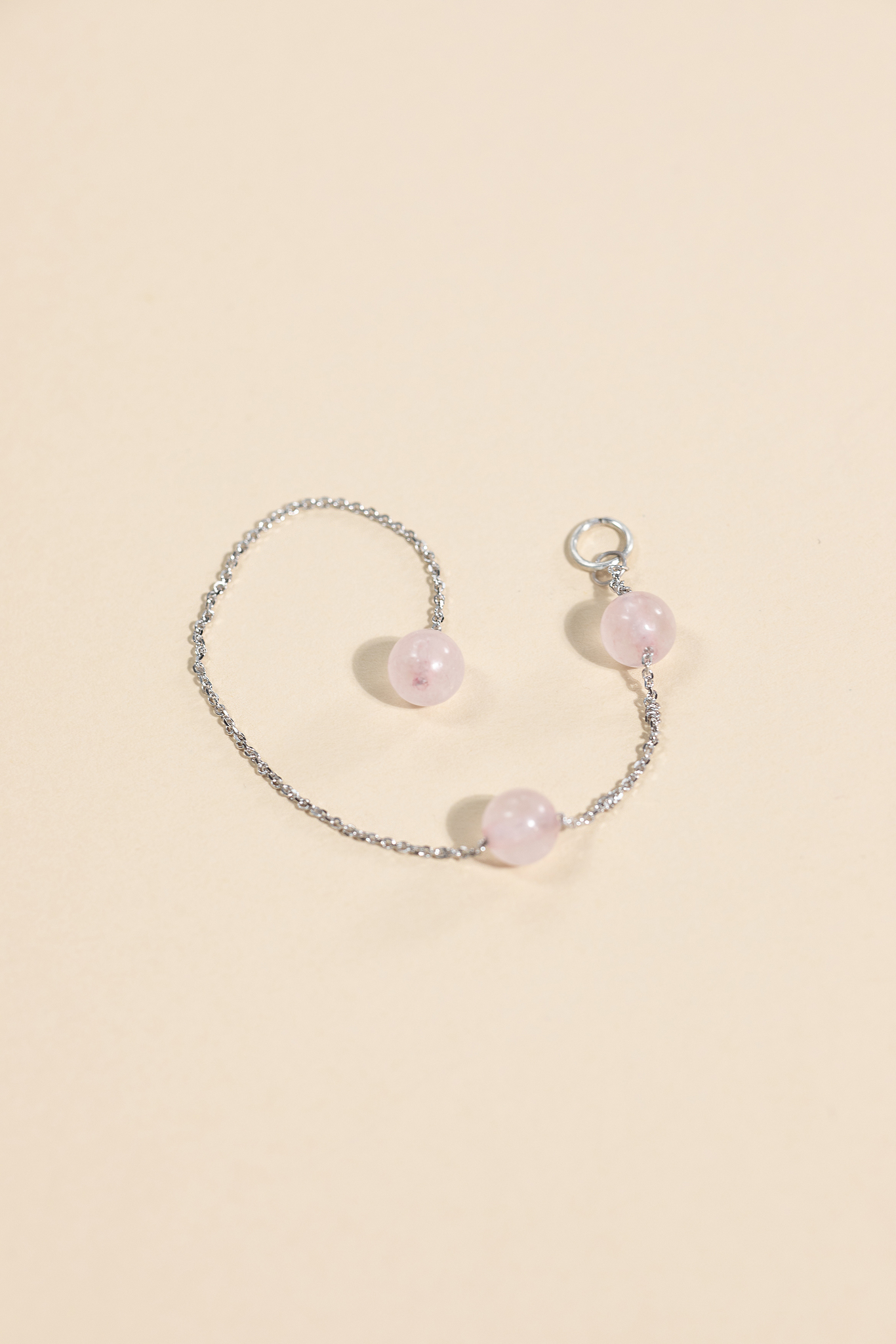 Серебряная подвеска для сережки гвоздика с розовым кварцем